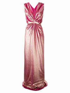 Rhea Costa ruched velvet gown - Pink
