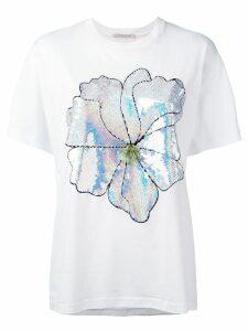 Christopher Kane large sequin flower T-shirt - White