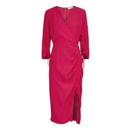 Altuzarra Oriana Raspberry Ruched Midi Dress