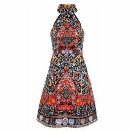 Comino Couture Halter Neck Folk Print Dress