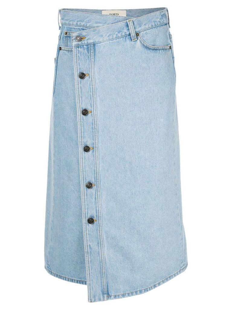 Ports 1961 wrap waist denim skirt - Blue