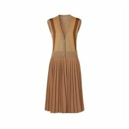 Burberry Sleeveless Knitted Wool V-neck Dress