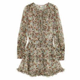 Stella McCartney Floral-print Ruffle-trimmed Silk Dress