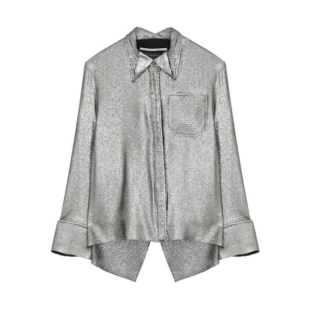 Roland Mouret Algar Silver Lamé Shirt
