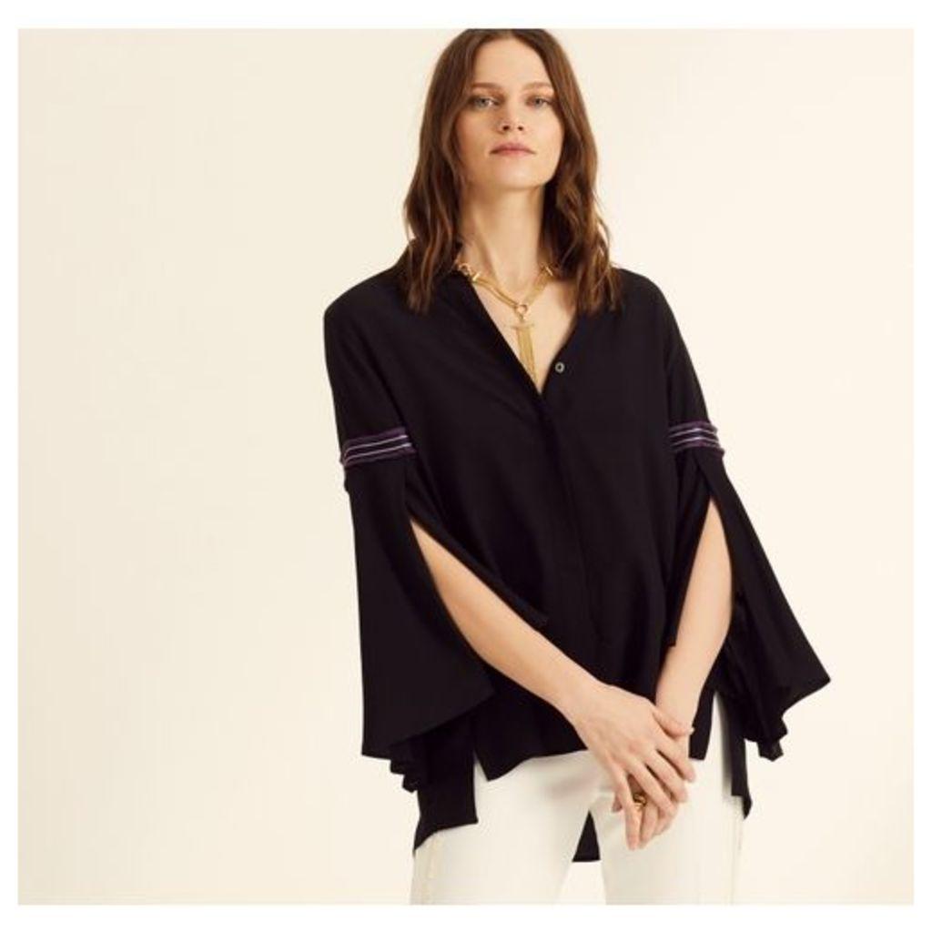 Amanda Wakeley Black Flutter Sleeve Shirt