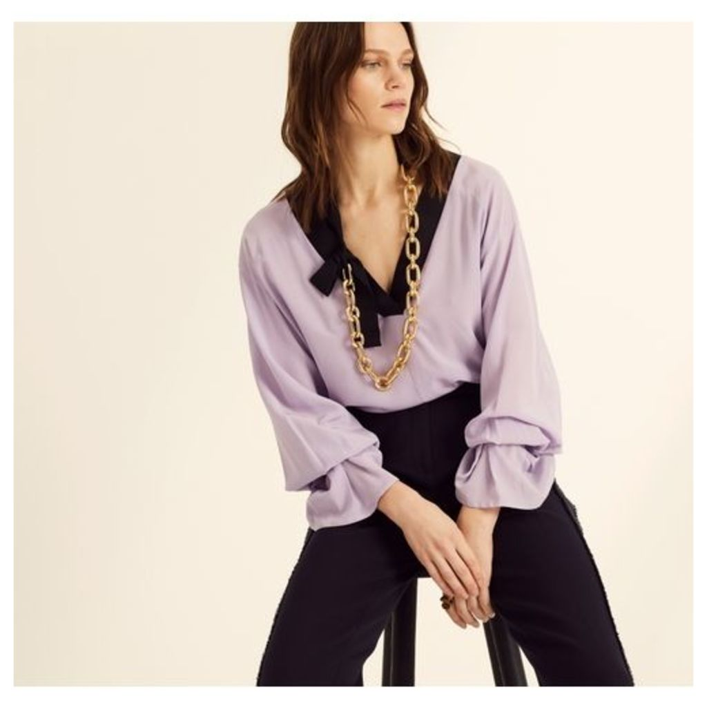 Amanda Wakeley Lilac V-neck Long Sleeve Top