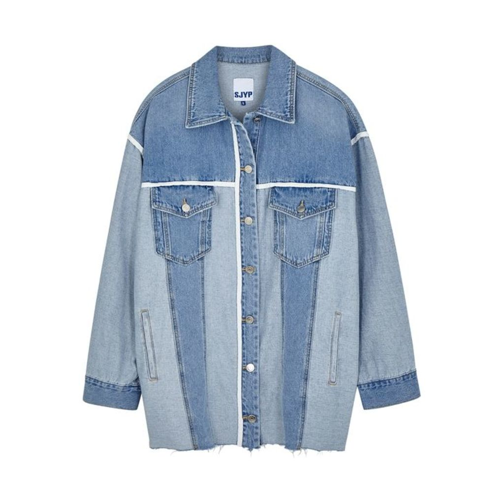 SJYP Two-tone Panelled Denim Shirt