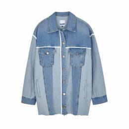 SJYP Two-tone Panelled Denim Shirt