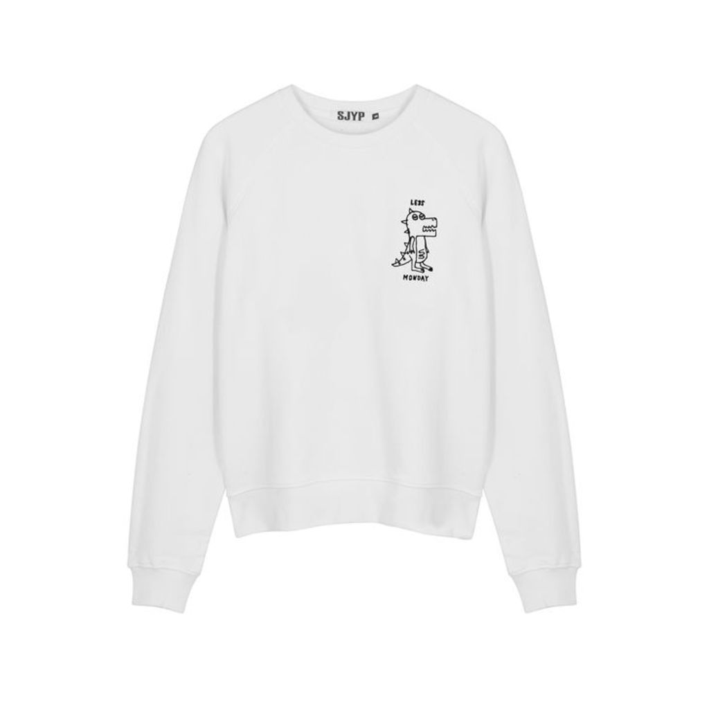 SJYP Off-white Embroidered Cotton Sweatshirt