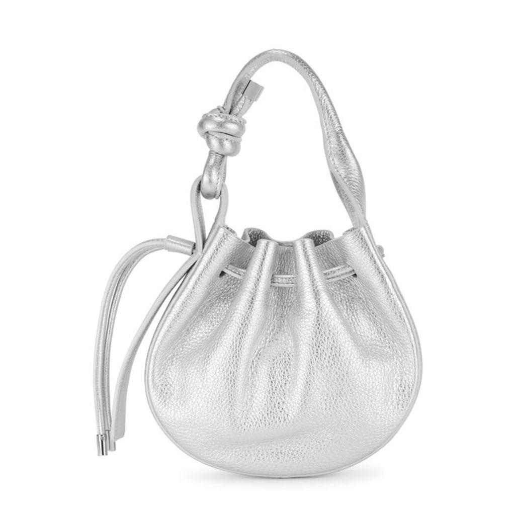Behno Ina Mini Silver Leather Cross-body Bag