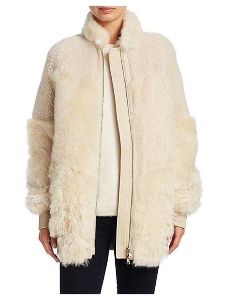 Reversible Shearling Patchwork Coat