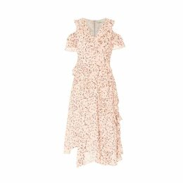 PAISIE - Floral Cold Shoulder Dress With Frills & Skirt Overlay In Pink Floral