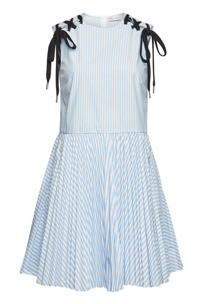 RED Valentino Striped Mini Dress with Lace-Up Detail