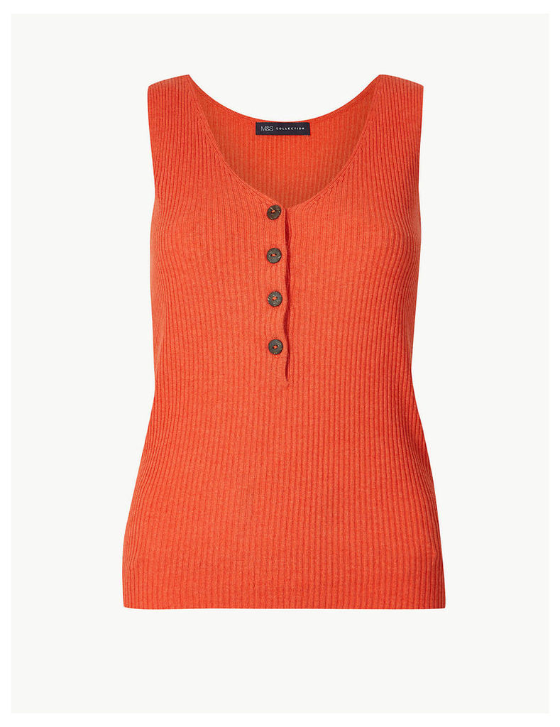 M&S Collection Linen Blend Textured V-Neck Knitted Tops