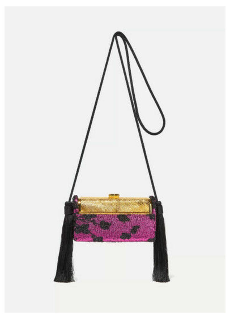 Bienen-Davis - Régine Tasseled Metallic Fil Coupé And Gold-dipped Shoulder Bag - Purple