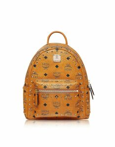 MCM Designer Handbags, Cognac Studded Outline Visetos Stark Backpack