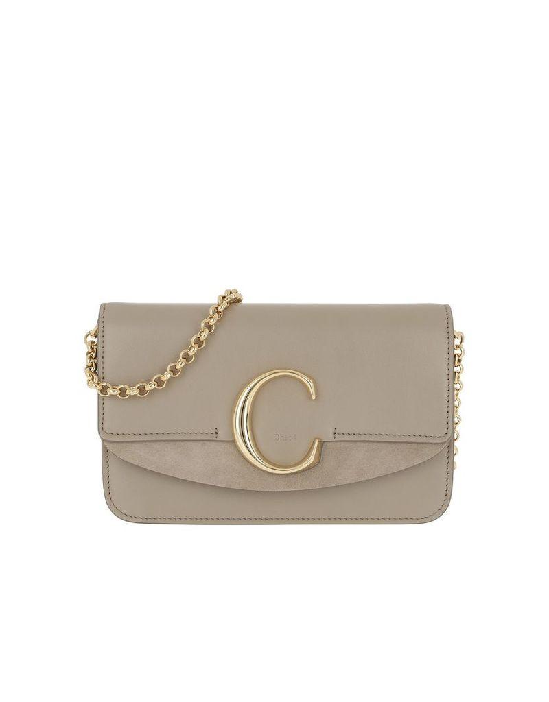 Chloe Designer Handbags, C Clutch With Cahin Motty Grey