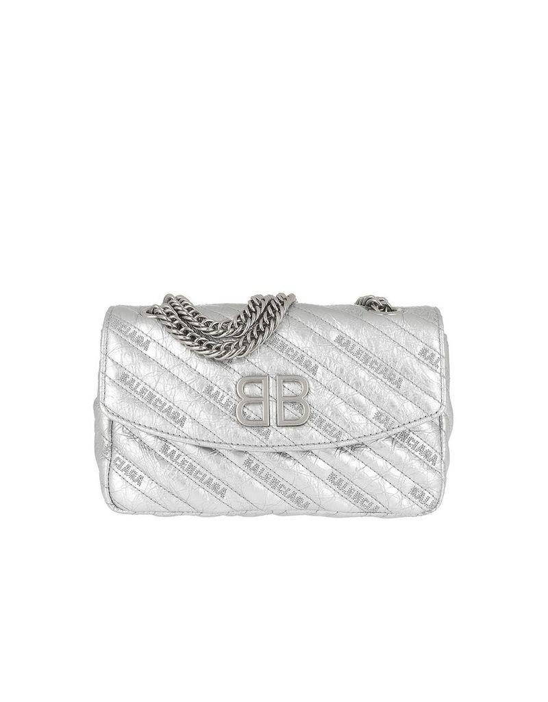 Balenciaga Designer Handbags, BB Round S Bag Arena Leather Silver