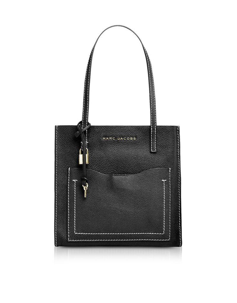 Marc Jacobs Designer Handbags, Black and Dark Cherry The Medium Grind T Pocket Tote