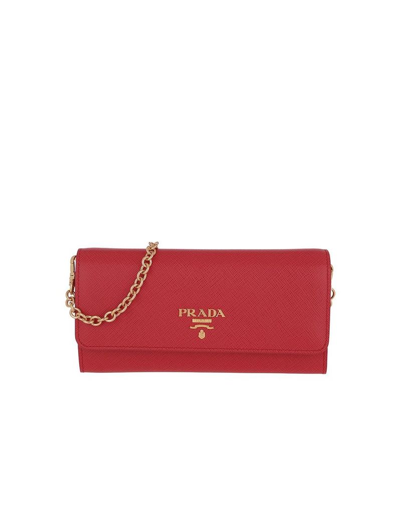 Prada Designer Handbags, Logo Plaque Mini Bag Fuoco