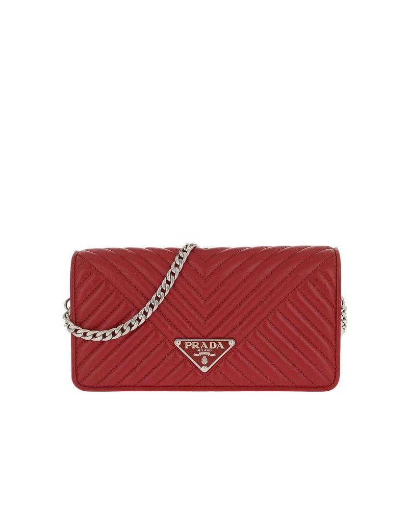 Prada Designer Handbags, Mini Crossbody Bag Quilted Leather Red