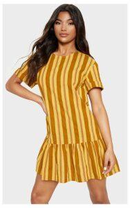 Mustard Stripe Frill Hem Smock Dress, Mustard