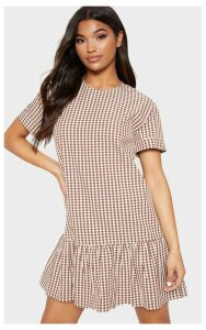 Chocolate Gingham Frill Hem Smock Dress, Chocolate