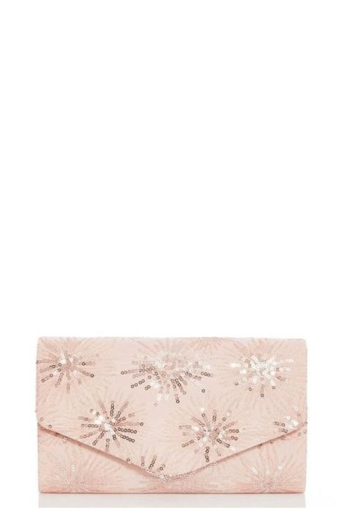 Quiz Blush Sequin Clutch Bag