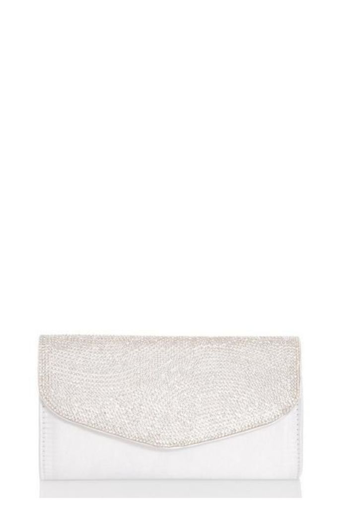 Quiz White Satin Diamante Clutch Bag