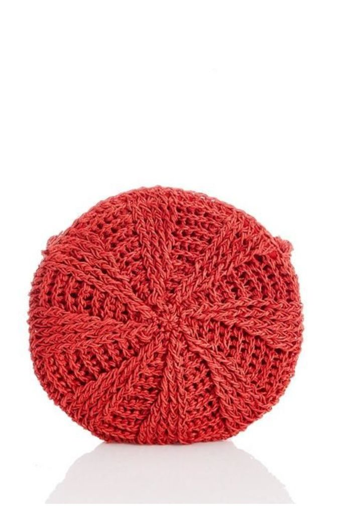 Quiz Red Crochet Circle Bag