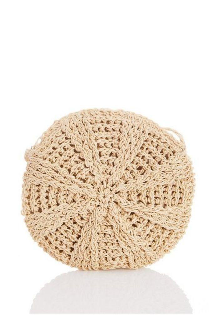 Quiz Cream Crochet Circle Bag