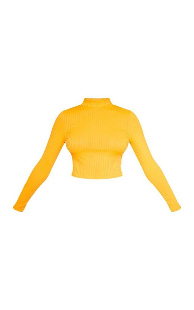 Tall Orange High Neck Ribbed Long Sleeve Crop Top, Orange