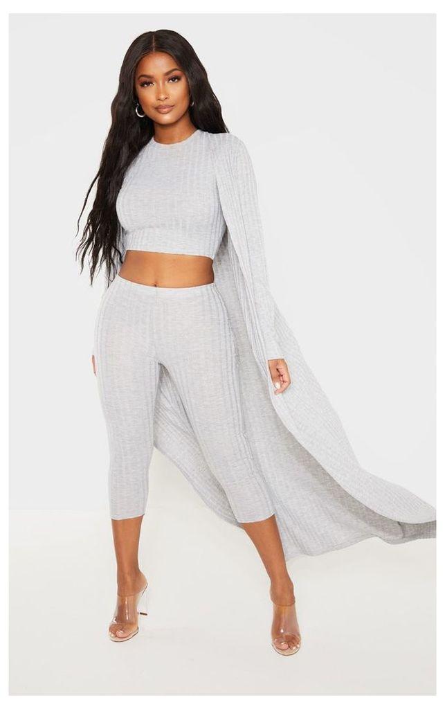 Shape Grey Wide Rib Maxi Cardigan, Grey