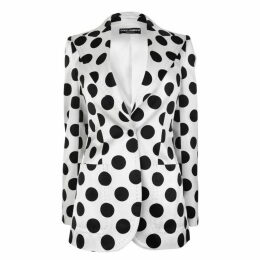 DOLCE AND GABBANA Silk Polka Dot Blazer