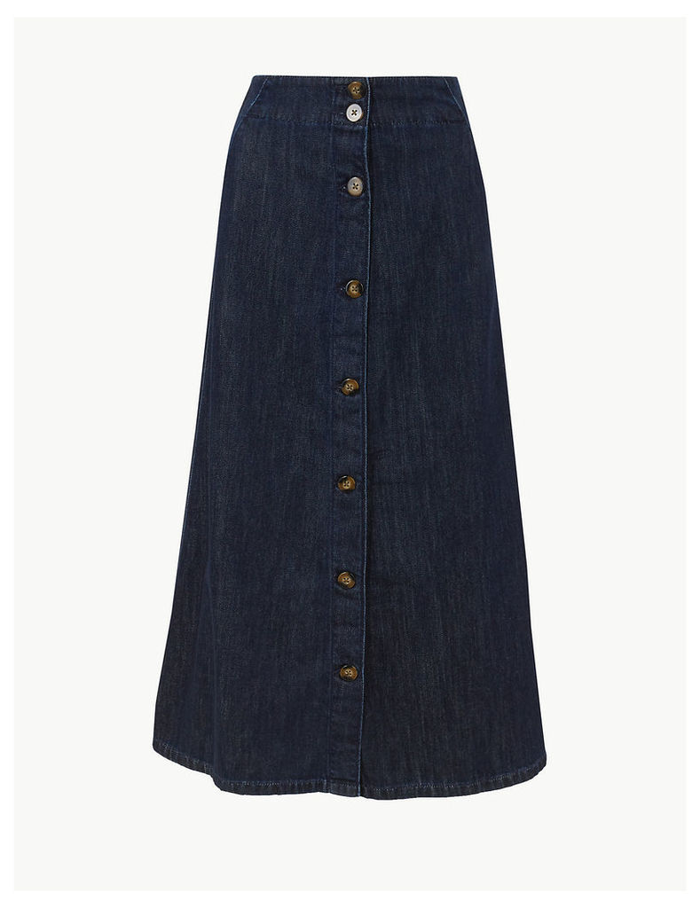 M&S Collection Button Detailed Denim Midi Skirt