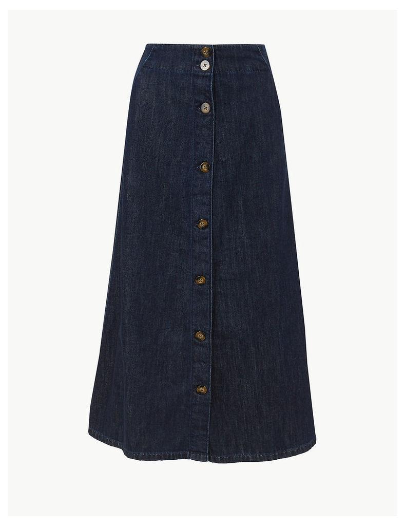 M&S Collection Button Detailed Denim Midi Skirt
