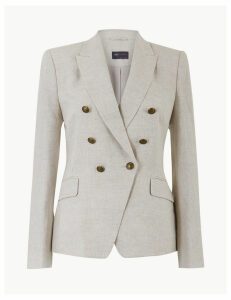 M&S Collection Pure Linen Single Breasted Blazer