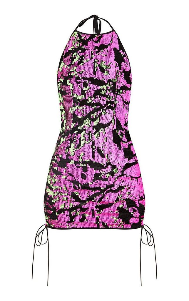 Pink Halterneck Sequin Lace Up Bodycon Dress, Pink