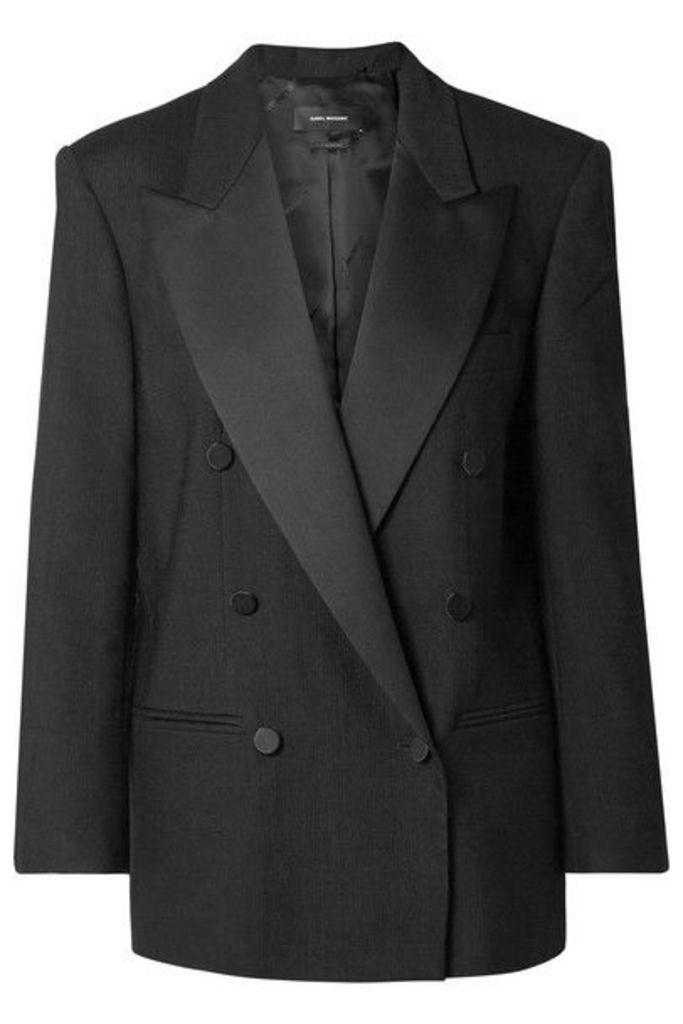 Isabel Marant - Meagan Oversized Satin-trimmed Woven Blazer - Black
