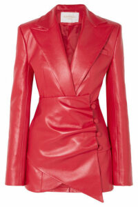 MATÉRIEL - Belted Faux Leather Blazer - Red