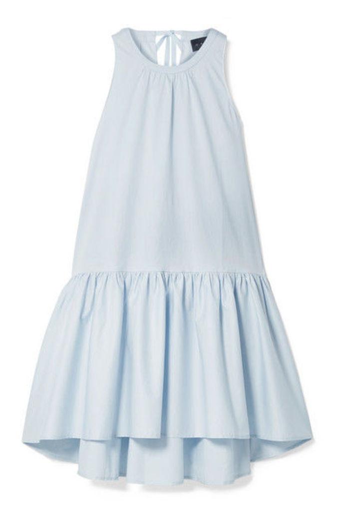 HATCH - The Paloma Tiered Cotton-blend Poplin Dress - Sky blue