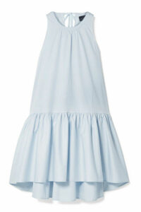 HATCH - The Paloma Tiered Cotton-blend Poplin Dress - Sky blue