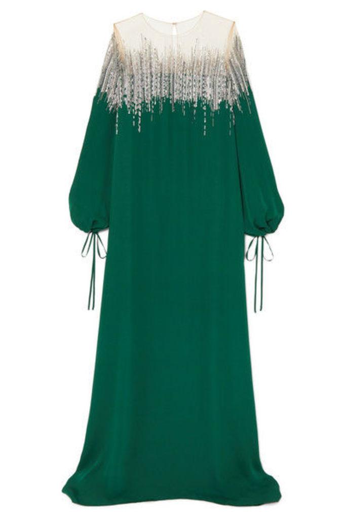 Oscar de la Renta - Embellished Silk-crepe And Tulle Gown - Emerald