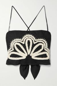 LoveShackFancy - Gigi Cropped Pompom-embellished Mohair-blend Cardigan - Blue