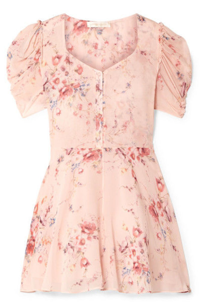 LoveShackFancy - Cora Floral-print Silk-georgette Mini Dress - Pink