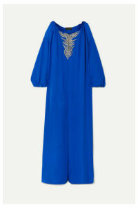 Dundas - Embroidered Silk-georgette Kaftan - Cobalt blue