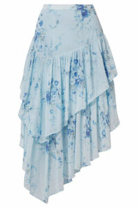 LoveShackFancy - Rowan Asymmetric Tiered Floral-print Silk-georgette Skirt - Light blue