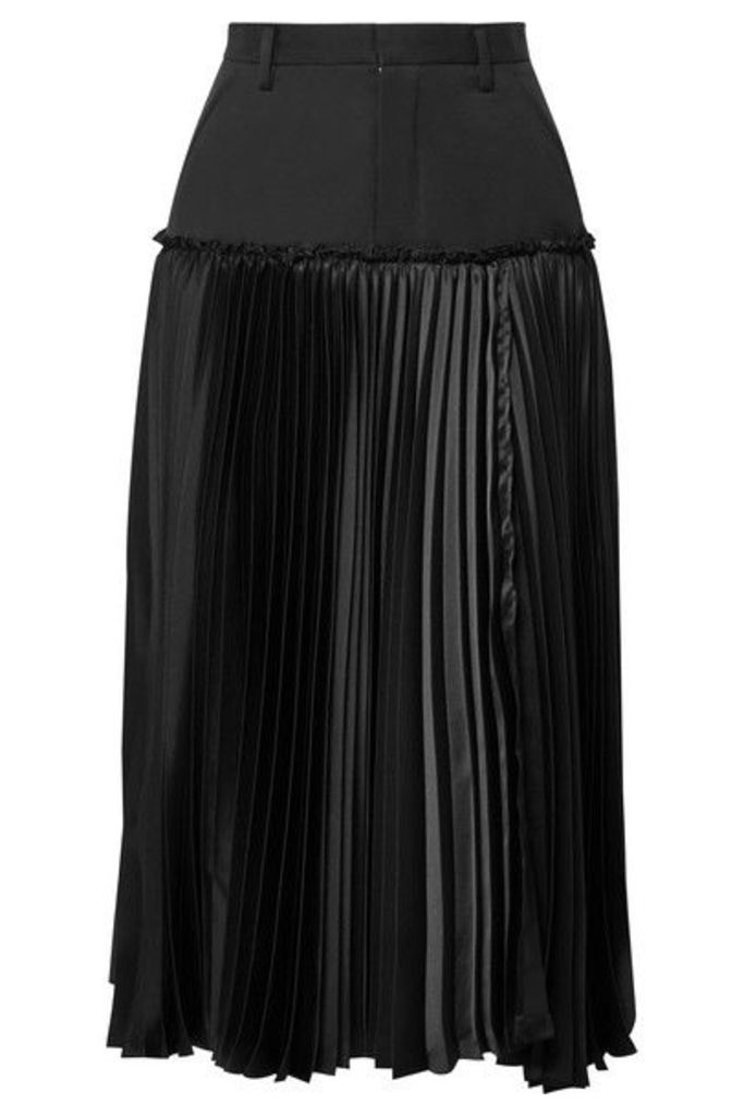 Noir Kei Ninomiya - Layered Wool-gabardine And Pleated Satin Midi Skirt - Black