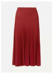 Agnona - Pleated Silk Midi Skirt - Red