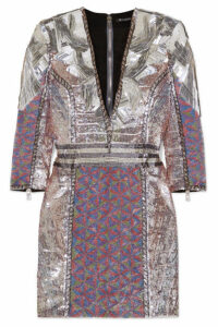 Balmain - Sequined Georgette Mini Dress - Purple